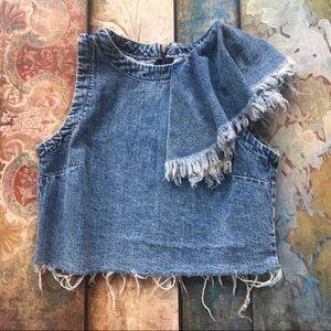Zara Size Small Frayed Ruffle Denim Crop Top